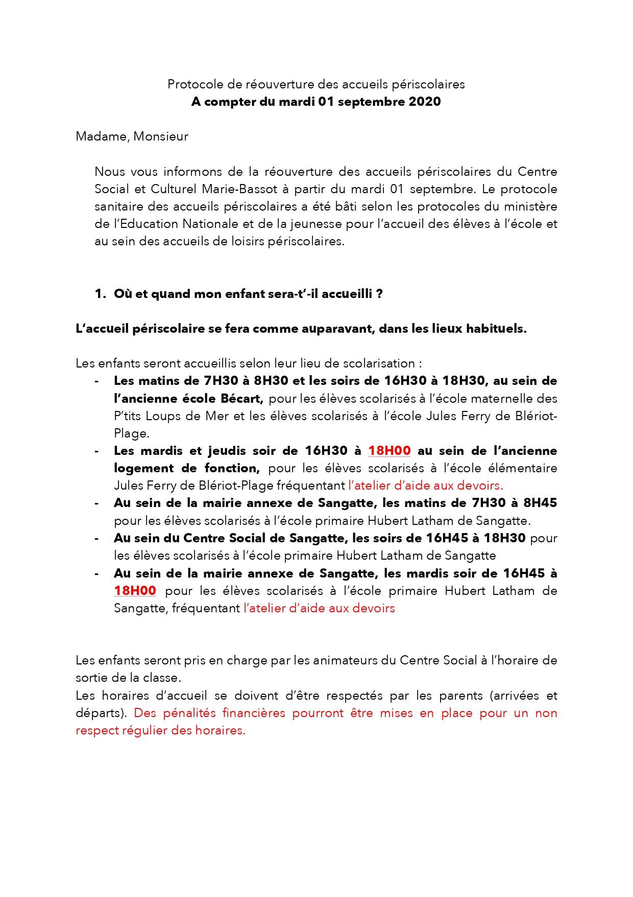 Protocole de réouverture des accueils périscolaires (matin et soir – sangatte et blériot)